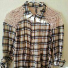 Free People plaid crochet shoulders blouse Adorable plaid blouse Free People Tops Button Down Shirts