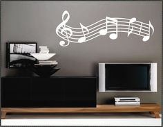 Vinyl Wall Lettering Musical Staff Graphic Decal. $13.00, via Etsy.