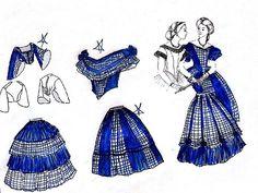 civil war gown design ideas. Navy taffeta & navy/natural homespun plaid.