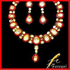 Classic Big Size Polki Bridal Wedding Necklace with Red Meena Enamel set in 22K Gold - #WeddingJewellery #BridalJewelry
