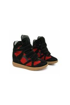 NIGHLY Hight-Top Concealed Wedge Heel Sneakers Buy Lsabel Marant Bekket Bekett Inspired | Online Store High Top Sneakers Suede Leather Black Red | Runway Shoes - Jessica Buurman [363] - $159.00 : JESSICABUURMAN.COM