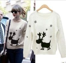 designer christmas reindeer pattern sweater dress women moose crochet blouse winter knit pullover jersey mohair jumper sudaderas(China (Mainland))