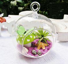 Green Polka Dot Sea Urchin with Butterfly by BeachCottageBoutique