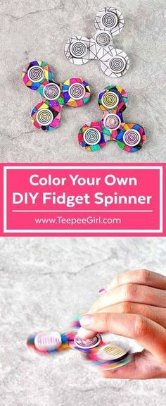 Color and make your own fidget spinner! This DIY fidget spinner is great for keeping kids busy and happy! The kids love it because they get to decorate their own fidget spinner. The adults love it because It's easy and comes together quickly. Get the ful Fidget Spinner Template, Diy Fidget Spinner, Hand Spinner, Hobbies For Kids, Diy For Kids, Crafts For Kids, Figet Spinners, Paper Dolls Printable, Glue Crafts