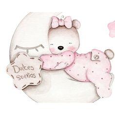 Cute Disney Drawings, Cute Animal Drawings, Cute Drawings, Baby Girl Drawing, Baby Girl Clipart, Teddy Bear Party, Baby Illustration, Baby Hamper, Cute Love Pictures