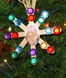 Snowflake Photo Ornament - Angela Krueger  Super-easy, and easy to make fun for two ages. YAY!