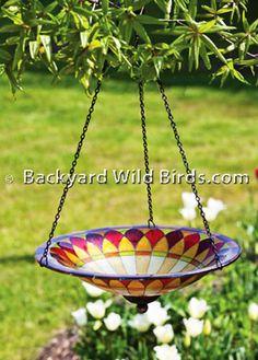 Hanging Tiffany Glass Bird Bath