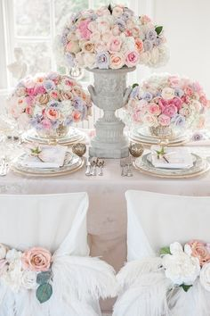 "Say the name ""Marie Antoinette"" and immediately visions of opulent design and gorgeous gowns pop into your head. So starting off the week with a Marie Antoinette-inspired shoot fr. Floral Wedding, Wedding Colors, Wedding Bouquets, Wedding Flowers, Wedding Pastel, Parisian Wedding, Parisienne Chic, Deco Floral, Floral Design"
