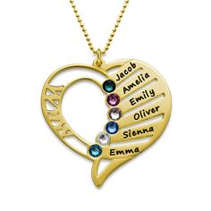 You may select any birthstones that you wish from the list below:<img border=0 width=100% title=Swarovski Colors src=https://cdn.mynamenecklace.com/images/products/Swarovski_new_MNN.png alt=Swarovski Colors border=0 <a/><br>Honor your family with an engraving and a birthstone for each child on this Birthstone Necklace for Mothers. Choose up to six names and six stones to customise the gold plated heart pendant. This me...