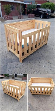 Use Pallet Wood Projects to Create Unique Home Decor Items – Hobby Is My Life Wooden Baby Crib, Baby Crib Diy, Wood Crib, Baby Cribs, Pallet Ideas, Diy Pallet Bed, Easy Woodworking Projects, Diy Wood Projects, Reclaimed Wood Furniture