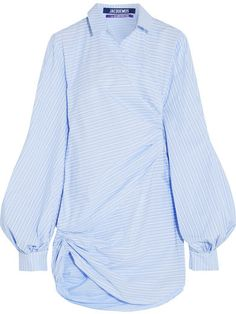 Jacquemus - Asymmetric Striped Cotton-poplin Mini Dress - Sky blue