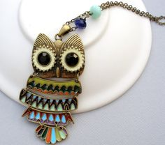 Long Owl Necklace Vintage Style Owl Pendant with Swarovski Crystals