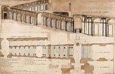 118. Bernini. Scala Regia. (11657-1666) Planta y alzado. Bernini adopta una solución de perspectiva ilusionista que seguía el modelo de la Gallería del Palazzo  Spada (1635) en la que Berromini había jugado a convertir una longitud real de menos de 10 m en una profundidad ilusoria de casi de 40.
