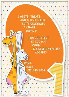BFY_021 Invite, Invitations, Baby First Birthday, Lets Celebrate, First Birthdays, Rsvp, Monkey, Fun, One Year Birthday