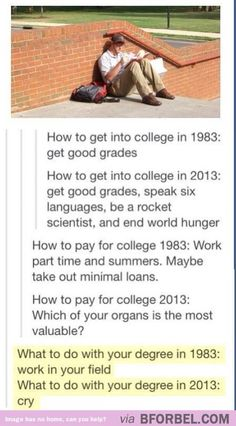 College 1983 VS College now