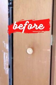 Quick bi-fold closet doors update on a budget. How to add molding to old closet doors. DIY old closet wood door upgrade. #closetupdate #closetdoormakeover