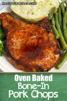 The perfect pork chops recipe with just 4 simple ingredients. Cooks to savory perfection in your oven. #porkchops #ovenbaked #easydinner Easy Pork Chop Recipes, Beef Recipes For Dinner, Entree Recipes, Pork Recipes, Veggie Recipes, Cooking Recipes, Icing Recipes, Ramen Recipes, Smoker Recipes