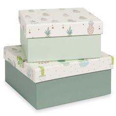 2 Aufbewahrungsboxen aus Karton CACTUS ANANAS