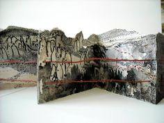 The Border Crossed Me, Migrants, artist book, mixed media, By Monique Janssen-Belitz.I love that this artist uses both and elements and drawings to make the inside unique and engaging. Concertina Book, Accordion Book, Paper Book, Paper Art, Cut Paper, Zine, Artist Journal, Book Sculpture, Paper Sculptures