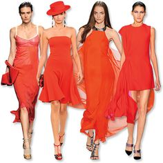 Spring Fashion Trends 2013: Red. Go with bluer reds if your complexion is fair. Keep hair sleek and lips neutral (red lips would be too matchy), and step out in black or nude shoes that won't distract.