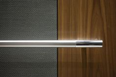 Bonded Aluminum with Dark Patina and Charleston pattern, and American Walnut wood veneer; Sextant handrail at Twelve Lobby Interior, Office Interior Design, Banquette Seating Restaurant, Elevator Design, Stair Lift, Elevator Lobby, Lift Design, Lifted Cars, Lobby Design