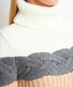 Pull tricot col roulé bande torsadé - ALEXANDER - BLANC CASSÉ/GRIS/SAUMON - Etam