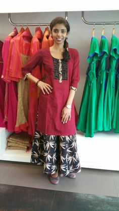 Palazzos are here to stay.. and any length and any flare are a statement.. no hardcore rules.. here is the earthy maroon and black combo. .