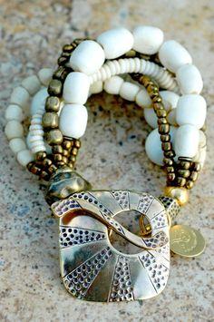 White Mixed Media Bracelet: Mixed-Media White Venetian Glass, Bone, Pearl and… Boho Jewelry, Beaded Jewelry, Handmade Jewelry, Jewelry Design, Bohemian Bracelets, Jewellery, Metal Bracelets, Jewelry Bracelets, Statement Bracelets