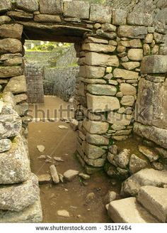 Stone passage way at the ancient Inca city of Machu Picchu