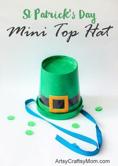 Make your household leprechaun's adorable little top hats for St. Patrick's Day! A cute St. Patrick's Day craft!