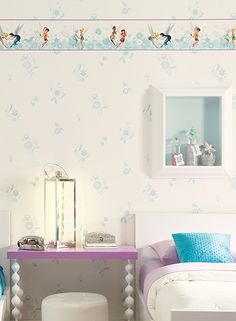 Disney Fairies wallpaper and jars of fairy dust make this room magical!