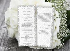 Printable Wedding ceremony programme template grey classic damask pattern by Oxee, DIY, Editable in Word, $5.00