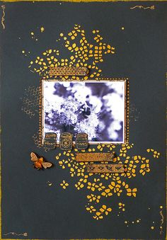 Heat embossed scrapbook page by Emily Grant