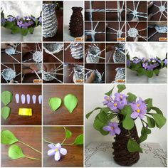 What a nice piece of paper crafts! The purple flowers and green leafs, wrapped in the twigs made from paper tubes, look so natural. Of course it requires a lot of details to make, but the result is gorgeous, a beautiful home decor!