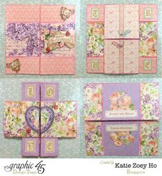 """An Infinity Card_1 Beautiful design with Graphic 45's """"Sweet Sentiments"""" paper collection.  There's a tutorial, also."""