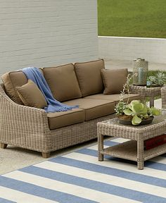 Outdoor Couch, Outdoor Cushions, Outdoor Seating, Outdoor Decor, Indoor Wicker Furniture, Patio Furniture For Sale, Pottery Barn Look, Deck Design, Furniture Makeover