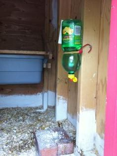 """SUPER CHEAP water bottle with nipple for chickens from BYC forum  """"I installed a Lemon juice waterer with a nipple on  the end of the opening.  The opening was almost  exactly 5/16"""".  With a bit of plumbers tape, I had  no leaks.  The hope is now I won't have to waste  so much water because they dirty it.  I also have another bottle just like this one, so it  will make it easy to change it."""""""