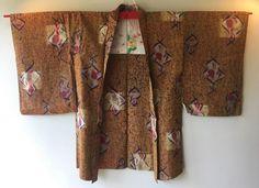Vintage Japanese Kimono Haori Jacket Meisen Silk brown abstract