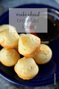 Make Ahead Breakfast Ideas -Whether off to work or school in the morning, these recipes are great to have! Make busy mornings easier! from addapinch.com