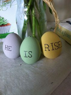Easter crafts: real eggs blown, painted and drawn on with a sharpie pen.
