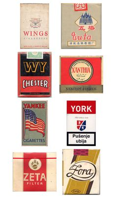 Vintage Packaging: Collection of Cigarette Packs