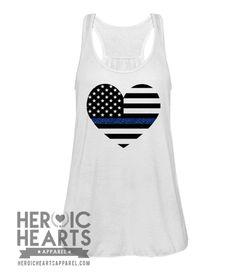 07eb94a4143 American Heart Flag Thin Blue Line police wife girlfriend leo leow deputy  sheriff leog cops Police