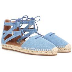 Aquazzura Belgravia Denim Espadrille Sandals (€315) ❤ liked on Polyvore featuring shoes, sandals, blue, aquazzura, blue espadrilles, espadrille sandals, aquazzura shoes and blue shoes