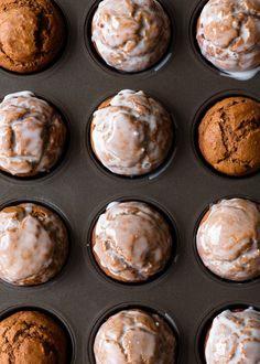Pumpkin Gingerbread Muffins Recipe - Fork Knife Swoon One Bowl Pumpkin Gingerbread Muffins with Maple Vanilla Glaze – Fork Knife Swoon Muffin Recipes, Brunch Recipes, Breakfast Recipes, Dessert Recipes, Desserts, Vegan Breakfast, Breakfast Ideas, Pumpkin Recipes, Fall Recipes