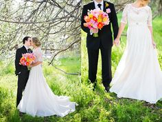 the bouquet and the dress