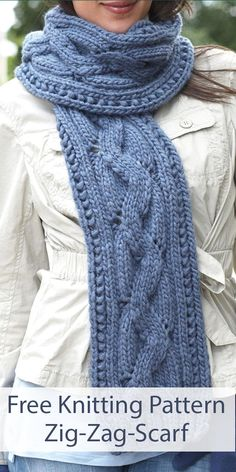 Free Knitting Pattern for Zig Zag Scarf - Get a cable look without knitting cables with this zigzag lace pattern. Quick knit in bulky yarn. Designed by Bernat. hat outfit Free Knitting Pattern for Zig Zag Scarf Knitting Blogs, Easy Knitting, Knitting Stitches, Knitting Patterns Free, Knitting Ideas, Knitting Designs, Knit Cardigan Pattern, Knitted Poncho, Sweaters Knitted