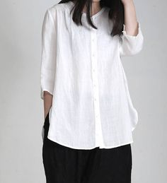 women linen shirt/women loose tops/women comfortagle