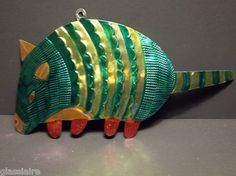"""Vintage Mexican Folk Art Punched Tin ARMADILLO CHRISTMAS ORNAMENT 11"""" GREEN"""