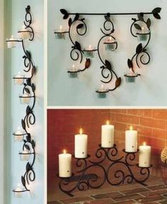 Candle Stand, Candle Holders, Tuscan Decorating, Interior Decorating, Wrought Iron Wall Decor, Iron Furniture, Room Decor, Candles, Batangas