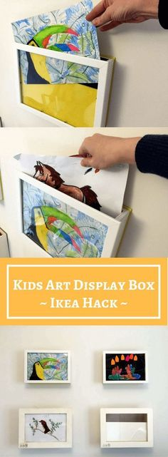 Kids art display box: 10 min hack to store & show . - Kids art display box: 10 min hack to store & show your kids art Kunstwerke der Kinder in Szene set - Diy Kids Room, Diy For Kids, Crafts For Kids, Ikea For Kids, Kids Room Art, Kids Art Walls, Kids Rooms Decor, Hacks For Kids, Decor Room